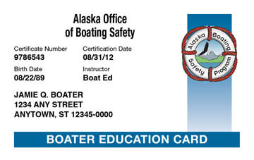 Alaska Boating safety education card