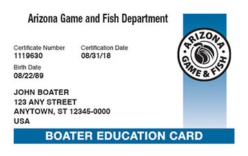 Arizona Boating safety education card