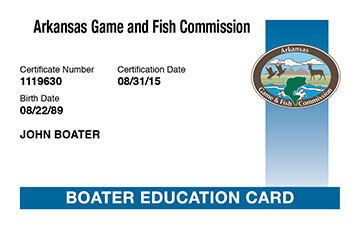 Arkansas Boating safety education card