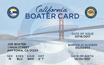 California Boating safety education card