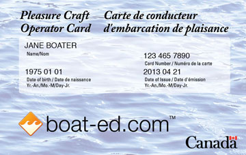 Canada Boating safety education card