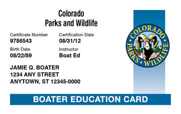 Colorado Boating safety education card