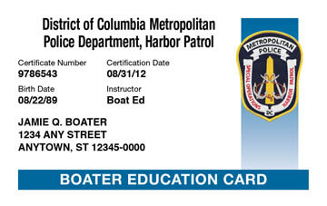 District of Columbia safety education card