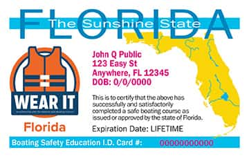 Florida Boating safety education card