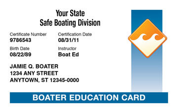 Boating license safety course boater education card