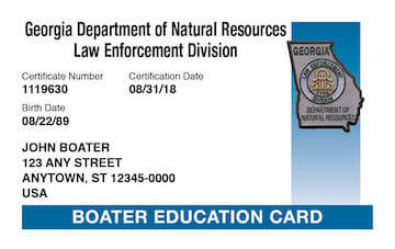 Georgia Boating safety education card