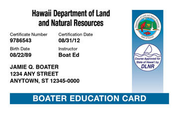 Hawaii Boating safety education card