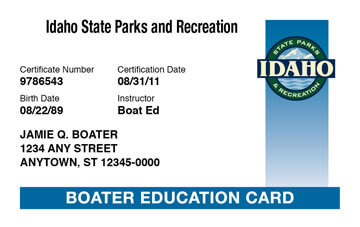 Idaho Boating safety education card