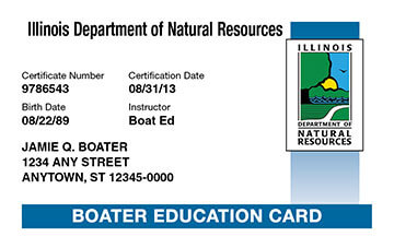 Illinois Boating safety education card