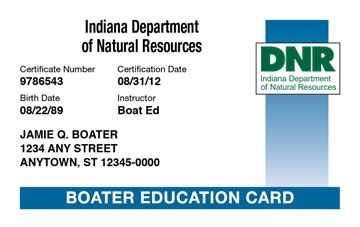 Indiana Boating safety education card