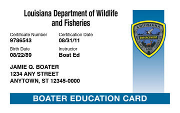 Louisiana Boating safety education card