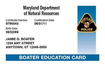 Maryland Boating safety education card