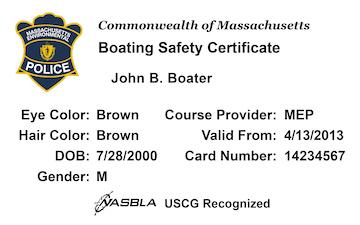 Massachusetts Boating safety education card