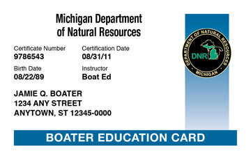 Michigan Boating safety education card