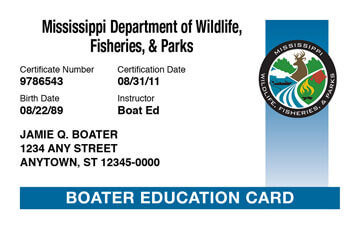 Mississippi Boating safety education card