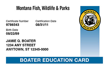 Montana Boating safety education card