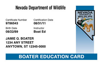 Nevada Boating safety education card