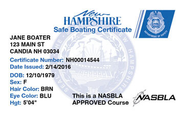 New Hampshire Boating safety education card