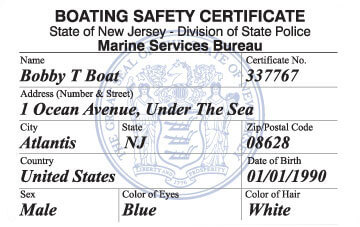 New Jersey Boating safety education card