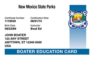 New Mexico Boating safety education card