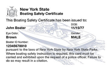 New York Boating safety education card