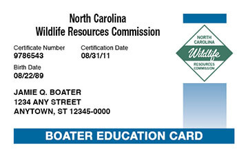 North Carolina Boating safety education card