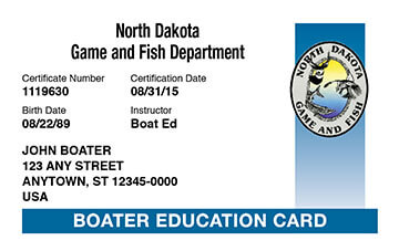 North Dakota Boating safety education card