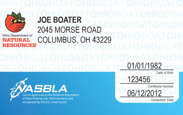Ohio Boating safety education card