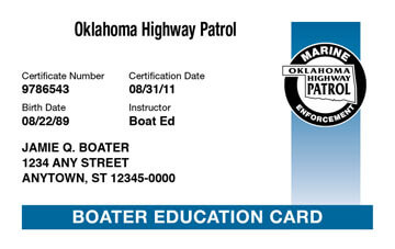 Oklahoma Boating safety education card
