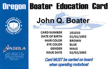 Oregon Boating safety education card