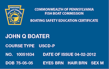 Pennsylvania Boating safety education card