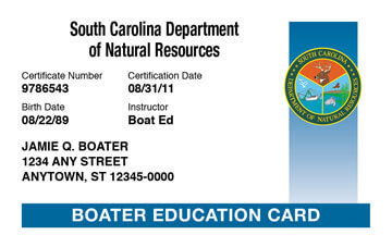 South Carolina Boating safety education card