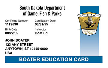 South Dakota Boating safety education card