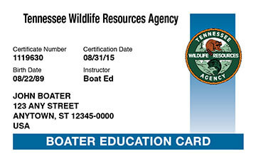 Tennessee Boating safety education card