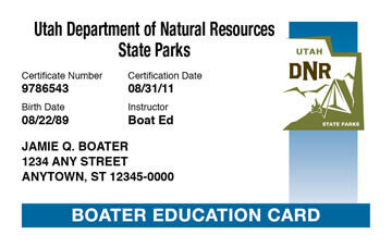 Utah Boating safety education card