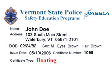 Vermont Boating safety education card