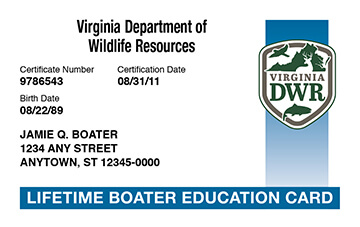 Virginia Boating safety education card