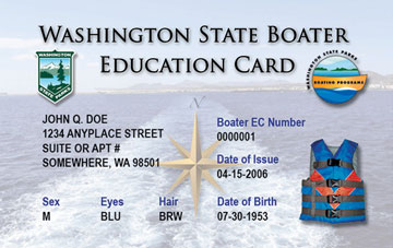 Washington Boating safety education card