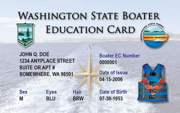Washington Boating safety education card