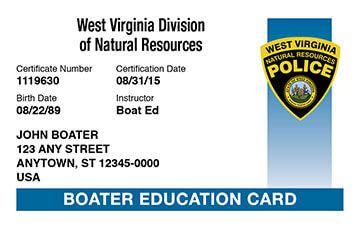 West Virginia Boating safety education card