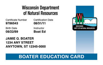 Wisconsin Boating safety education card