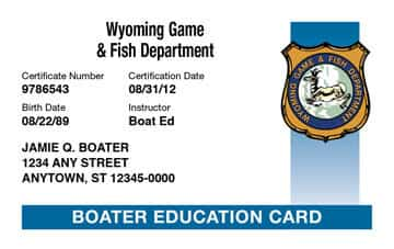 Wyoming Boating safety education card