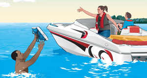 Boating safety procedures illustration