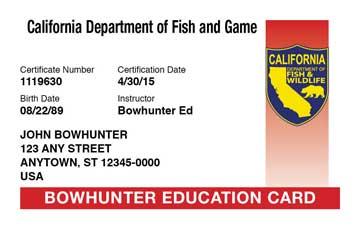 California safety education card