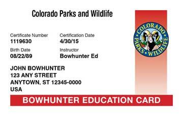 Colorado safety education card