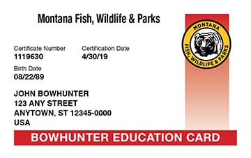Official montana bowhunter safety course online mt for Lifetime fishing license mn