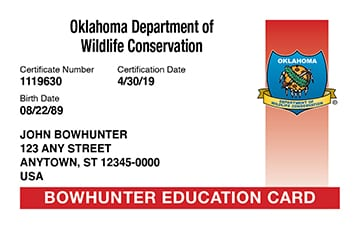 Oklahoma safety education card