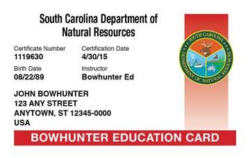 South Carolina safety education card