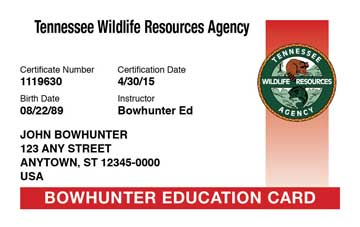 Official tennessee bowhunter safety course online tn for Tn fishing license online