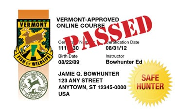 Vermont safety education card